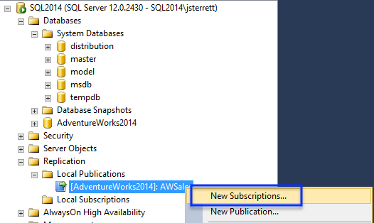 Create Subscription Azure DB
